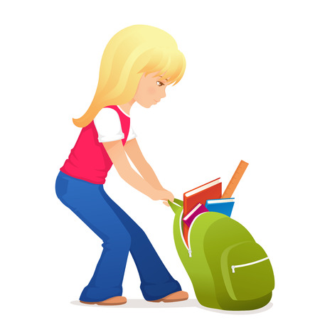 schoolbag: illustration of a cute blonde girl with a bit heavy schoolbag Illustration