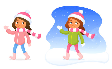 seasonal clothes: ute little girl in winter clothes smiling and waving hand Illustration