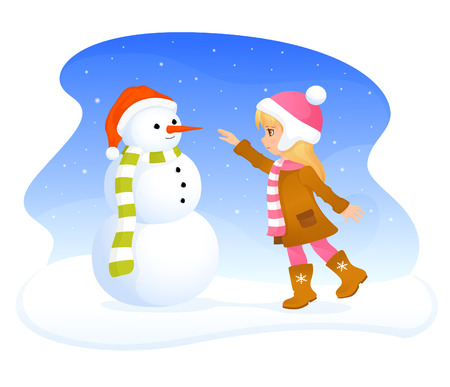 cute blonde: winter theme illustration with a cute blonde girl and friendly snowman
