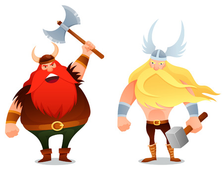 viking: furious viking warrior and the ancient god Thor