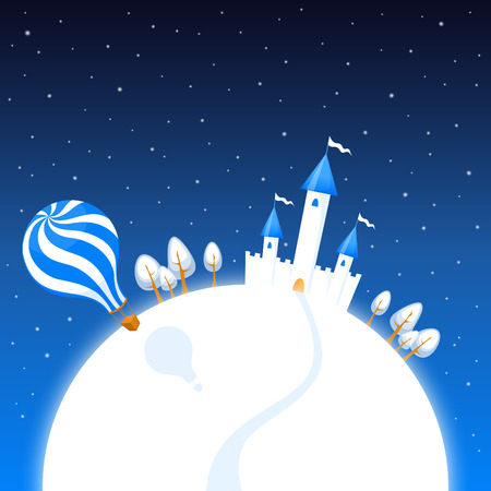 hillock: cute illustration of a winter night scenery with a castle and air balloon