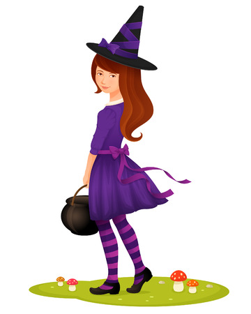 brujas caricatura: ilustración de una chica linda joven vestida como una bruja Vectores
