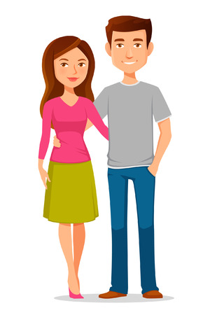 couples: young cartoon couple in love Illustration