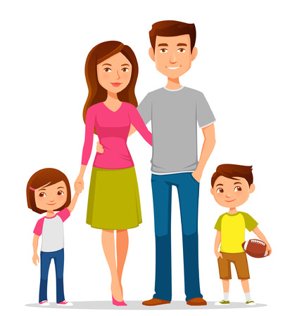 mom and dad: cute cartoon family in colorful casual clothes Illustration