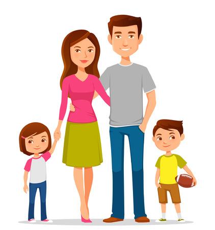 familias unidas: linda familia de dibujos animados en ropa casual de colores