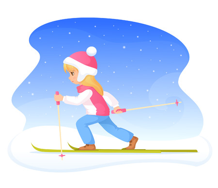 winter girl: colorful winter theme illustration  a cute blonde girl skiing Illustration