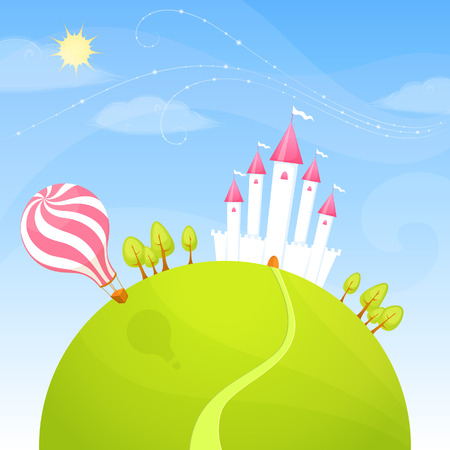 castello medievale: carino castello in piedi su una collinetta verde su una luminosa giornata di sole Vettoriali