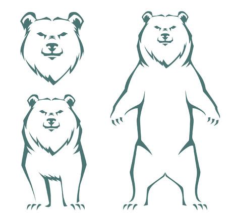 simple stylized line illustration of a bear Illustration