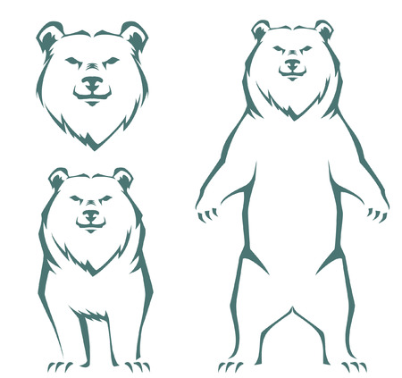 simple stylized line illustration of a bear 向量圖像
