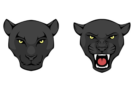 black: line illustration of a black panther head