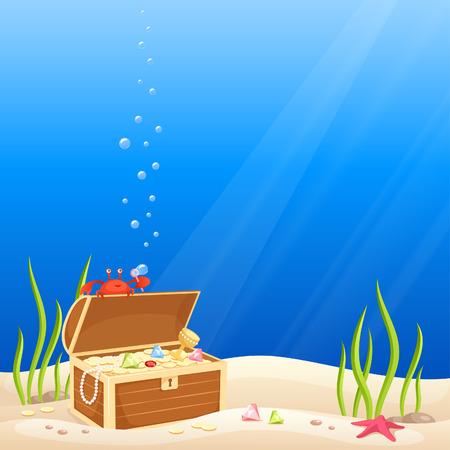 cofre del tesoro: toma lindo del cangrejo burbujas en el mar