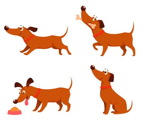 perro comiendo: lindas ilustraciones de dibujos animados de un perro juguetón feliz