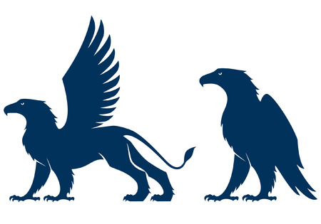 silhouette illustration of a griffin and an eagle Illustration