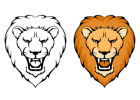 dangerous lion: simple illustration of lion head