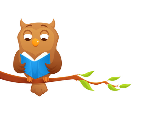 cute cartoon illustration of a wise owl reading a book Illustration