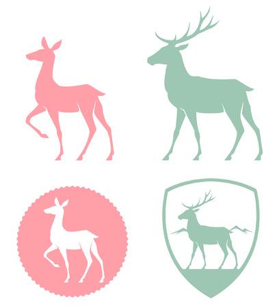 venado: ilustración estilizada de una cierva y ciervos en tonos pastel Vectores