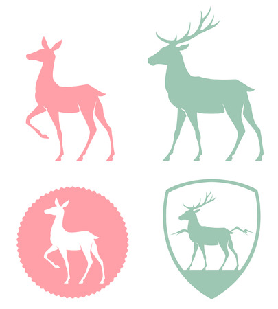 antlers silhouette: stylized illustration of a doe and deer in pastel colors