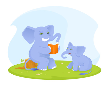 vector studies: cute elephant baby listening to his parent reading a book Illustration