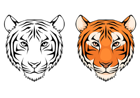 tigre caricatura: ilustración línea de una cabeza de tigre Vectores