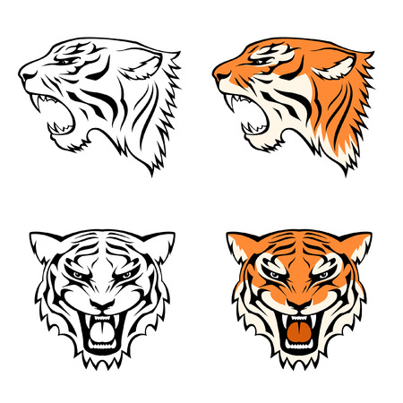 tigre caricatura: ilustraciones de la línea de la cabeza del tigre de perfil y de frente Vectores