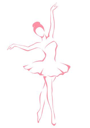 ballerina danza classica: illustrazione linea di una bella ballerina