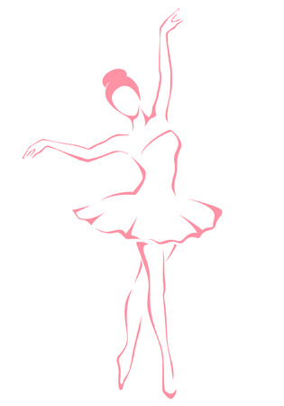 bailarina de ballet: ilustración línea de una hermosa bailarina de ballet