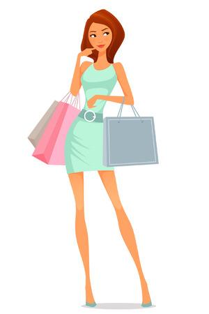 beautiful cartoon girl in summer dress shopping Vettoriali