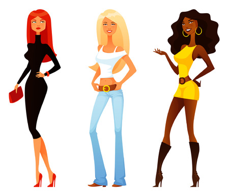 funny cartoon girls with various fashion style and personality