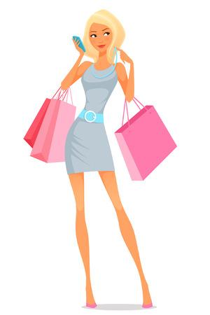chicas comprando: Mujer joven que usa su teléfono mientras que las compras