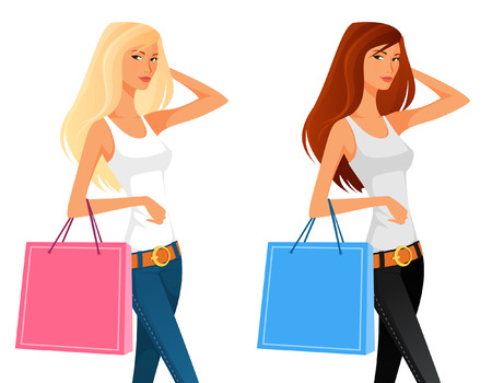 sexy girls: illustration of a beautiful young girl shopping