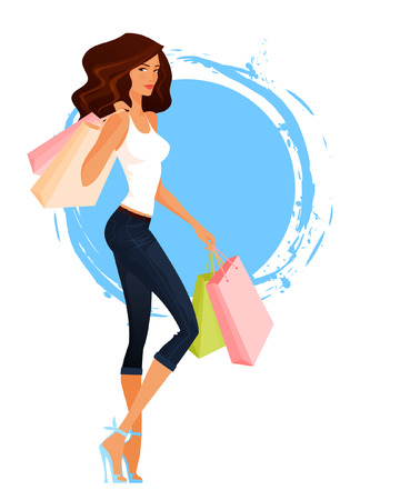 long hair brunette: young woman in capri jeans and tank top shopping Illustration