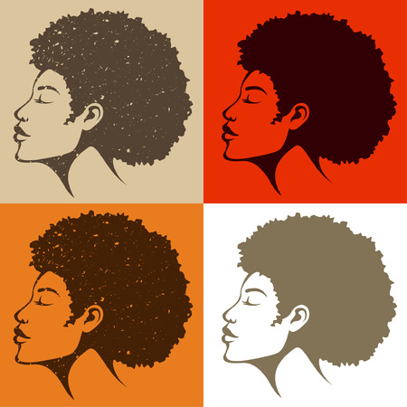 face  profile: beautiful African American woman with natural hair Illustration