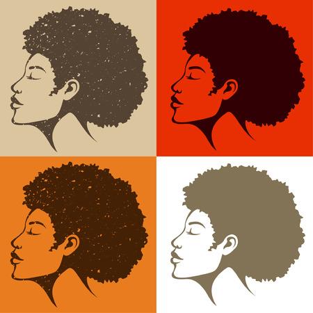 amerikalılar: Doğal saçlı güzel Afro-Amerikan kadın Çizim