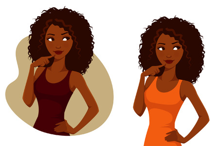 cartoon character: gorgeous African American girl with natural curly hair Illustration