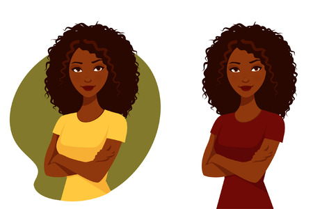 black american: beautiful African American woman with her arms crossed Illustration