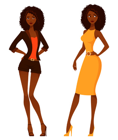 black american: Elegant African American women with natural curly hair Illustration