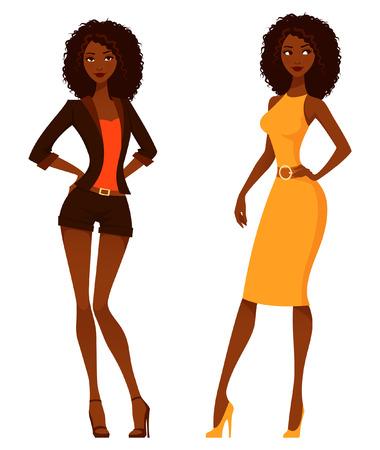 mannequin africain: Les femmes américaines africaines élégantes avec des cheveux bouclés naturels