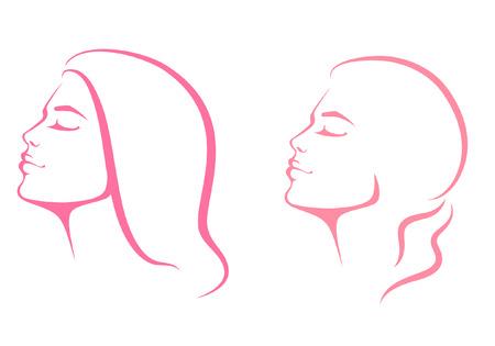 sch�nes frauengesicht: Linie-Illustration einer sch�nen Frau Gesicht von Benutzer-Profile anzeigen