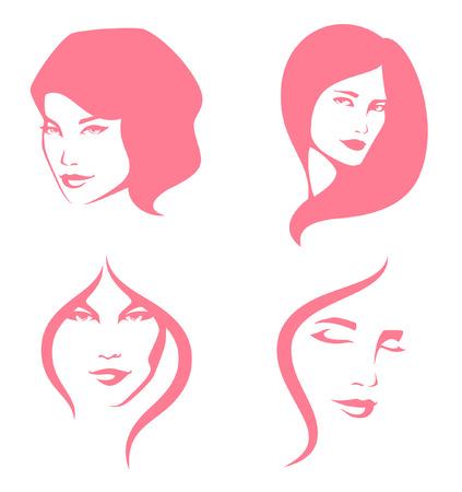 caras: Ilustración simple línea de mujeres hermosas Vectores