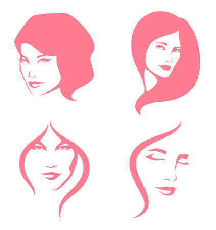 young woman face: simple line illustration of beautiful women Illustration