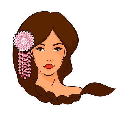 trenzas en el cabello: hermosa mujer asi�tica con el pelo trenzado y decoraci�n de flores