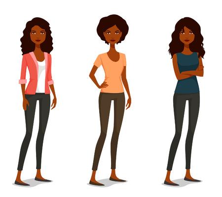 mujeres negras: lindas muchachas de la historieta con varias poses y trajes Vectores