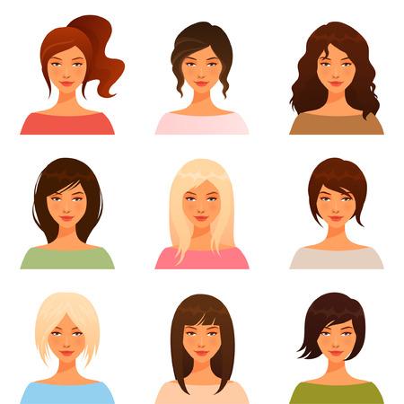 visage: illustrations mignonnes de belles jeunes filles avec différents style de cheveux