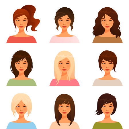 cola mujer: ilustraciones lindas de hermosas chicas jóvenes con diferentes estilos de pelo Vectores
