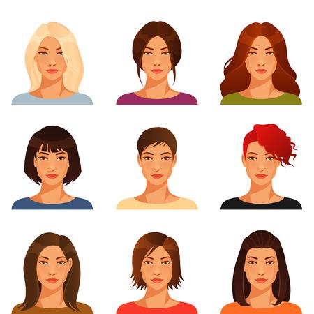 caras: mujer joven con diversas peinado y color
