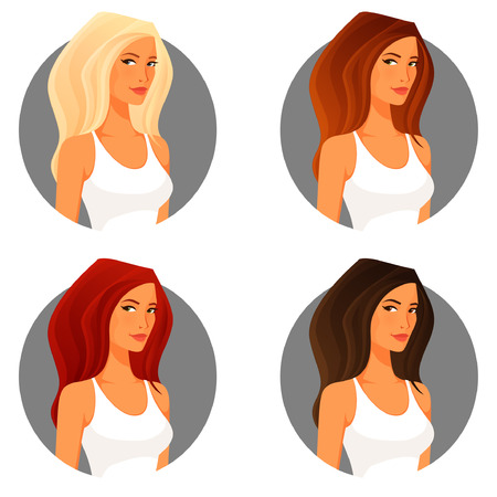 hair color: attractive young woman with various hair color Illustration