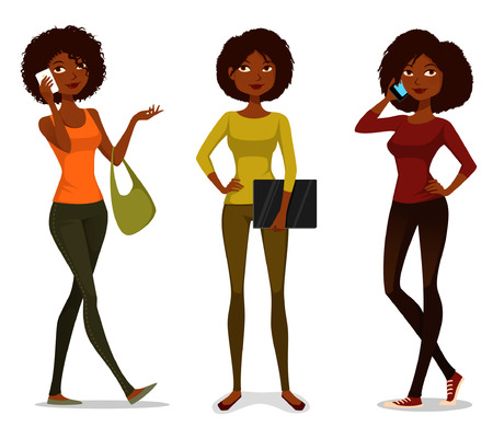 cartoon character: African American girls with mobile phone or laptop