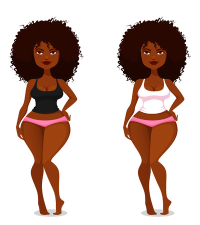cartoon underwear: cute and sexy African American girl with natural hair