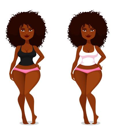 reloj de arena: niña afroamericana linda y sexy con cabello natural