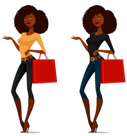attractive African American girl on a shopping spree